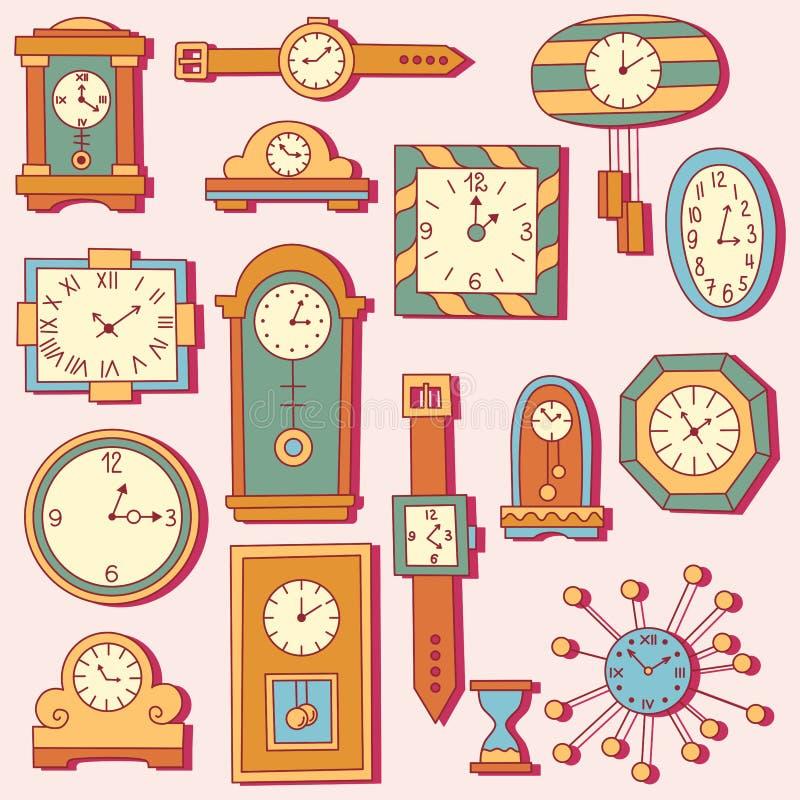 Τα εικονίδια ρολογιών ρολογιών doodle θέτουν ελεύθερη απεικόνιση δικαιώματος