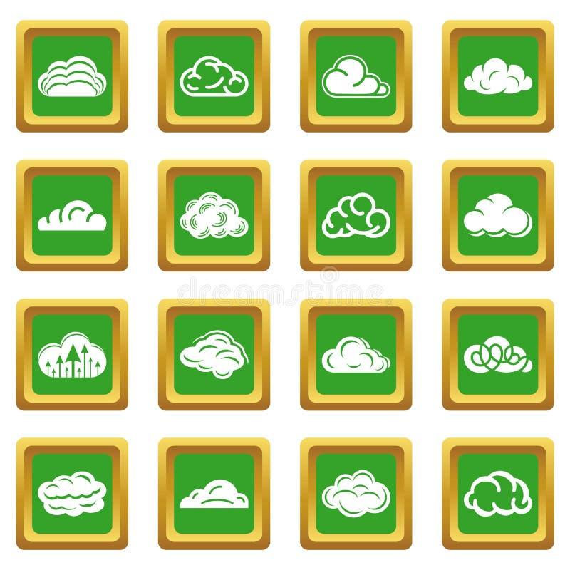 Τα εικονίδια σύννεφων καθορισμένα το πράσινο τετράγωνο ελεύθερη απεικόνιση δικαιώματος