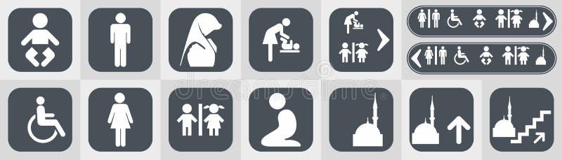 Τα εικονίδια τουαλετών καθορισμένα το WC χώρων ανάπαυσης αγοριών ή κοριτσιών απεικόνιση αποθεμάτων