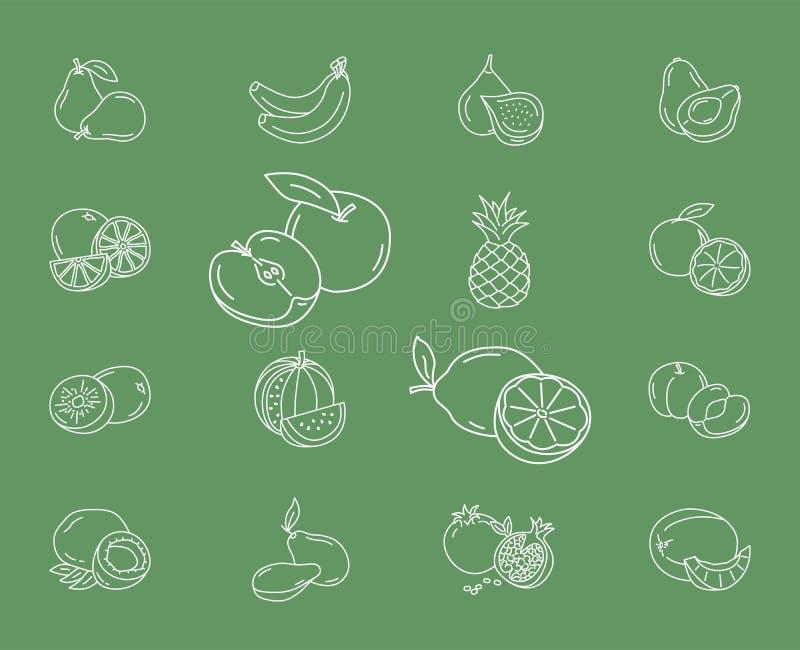 Τα εικονίδια φρούτων θέτουν 01 ελεύθερη απεικόνιση δικαιώματος
