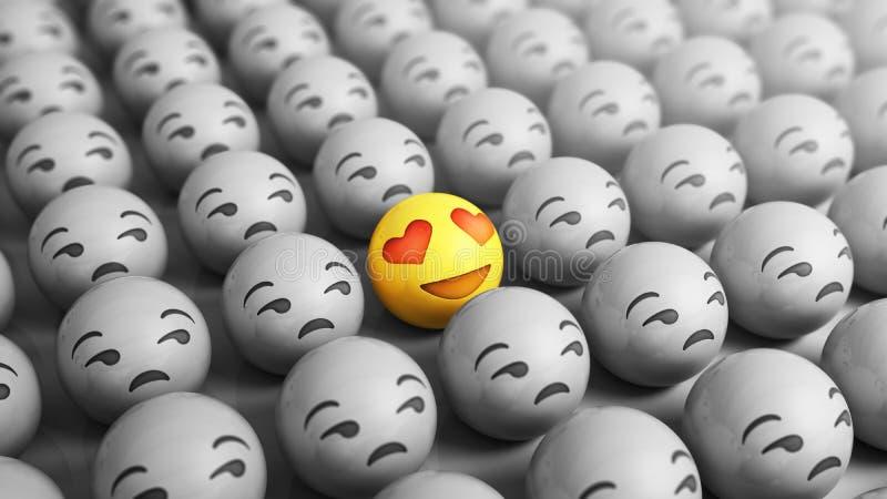 Τα εικονίδια Emojis έννοιας αγάπης με τις εκφράσεις του προσώπου τρισδιάστατες δίνουν διανυσματική απεικόνιση