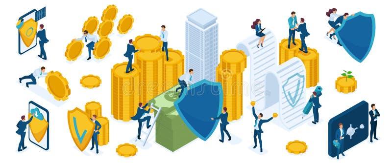 Τα εικονίδια Isometry θέτουν για να προστατεύσουν τα χρήματα και τον πλούτο από τους επιχειρηματίες, επενδυτές, τραπεζίτες, υπηρε διανυσματική απεικόνιση