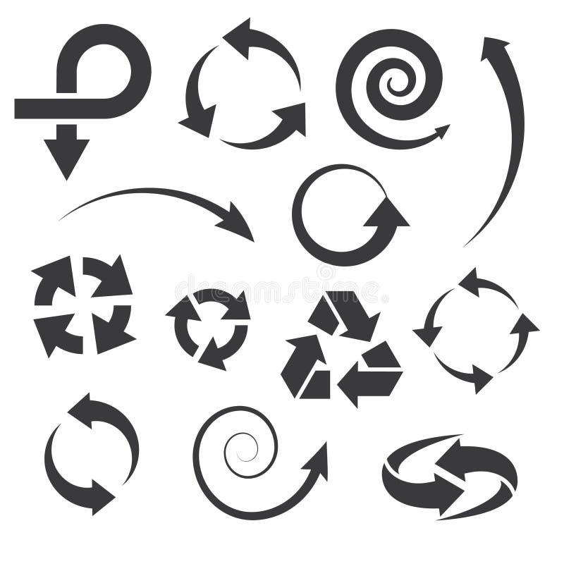 Τα εικονίδια βελών καθορισμένα τις συλλογές. απεικόνιση αποθεμάτων