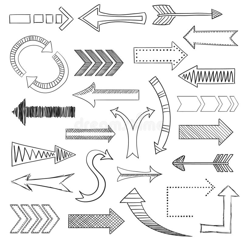 Τα εικονίδια βελών καθορισμένα το σκίτσο απεικόνιση αποθεμάτων