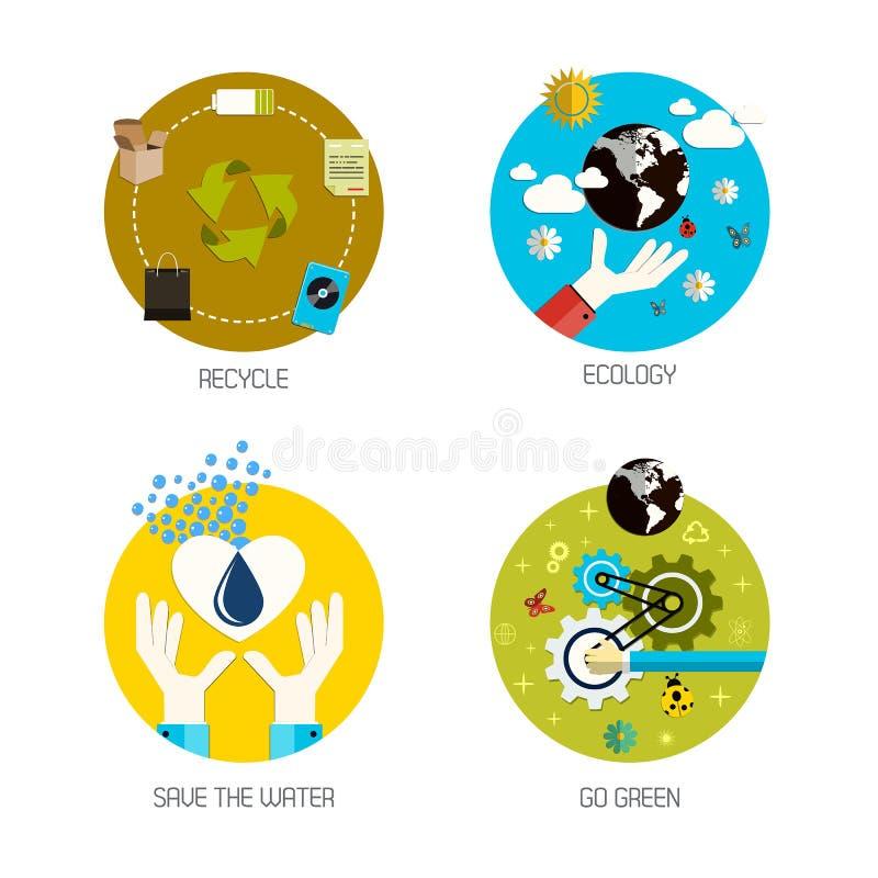Τα εικονίδια για ανακύκλωσης, οικολογία, εκτός από το νερό, πηγαίνουν πράσινα Επίπεδο ύφος διανυσματική απεικόνιση