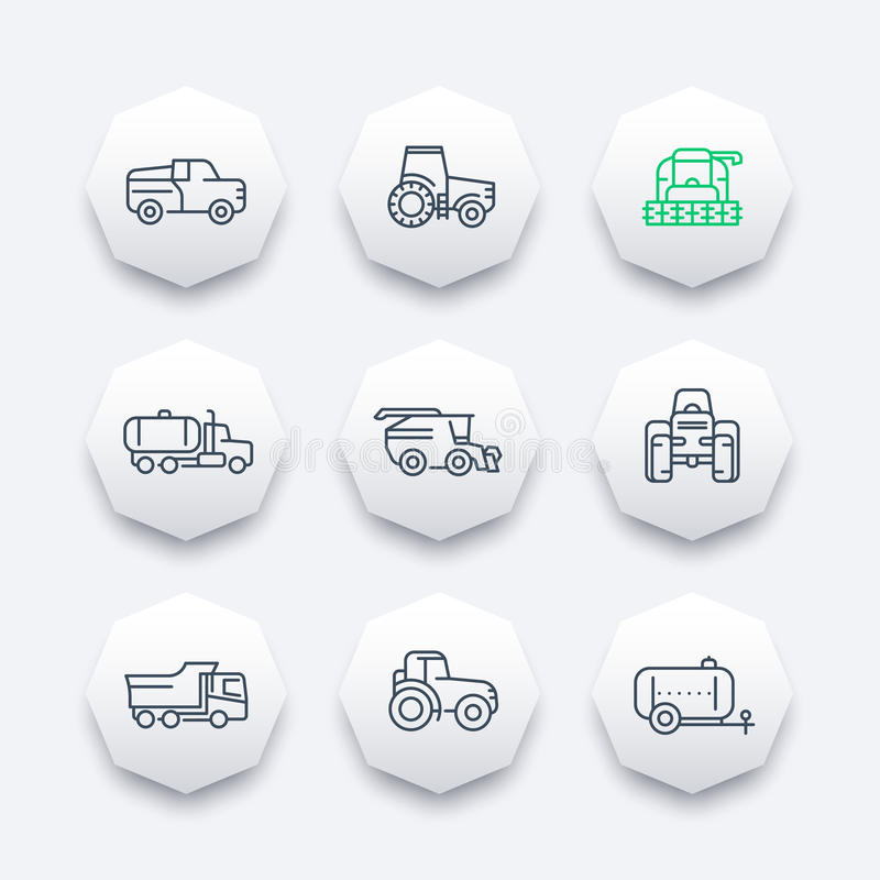 Τα εικονίδια γραμμών γεωργικών μηχανημάτων, συνδυάζουν τη θεριστική μηχανή, τρακτέρ, η συγκομιδή σιταριού συνδυάζει, φορτηγό, γεω διανυσματική απεικόνιση