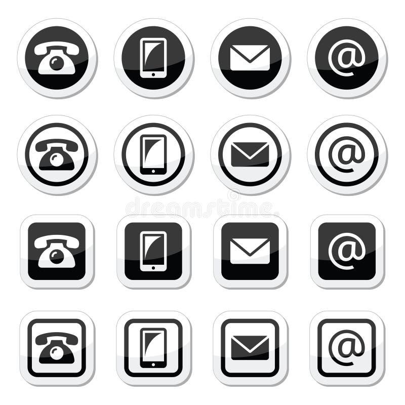 Τα εικονίδια επαφών στον κύκλο και το τετράγωνο θέτουν - κινητός, τηλέφωνο, ηλεκτρονικό ταχυδρομείο, φάκελος ελεύθερη απεικόνιση δικαιώματος