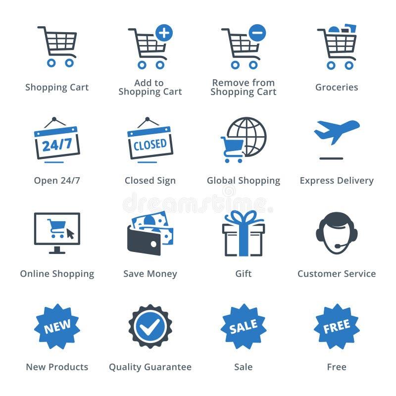 Τα εικονίδια ηλεκτρονικού εμπορίου θέτουν 2 - μπλε σειρά διανυσματική απεικόνιση