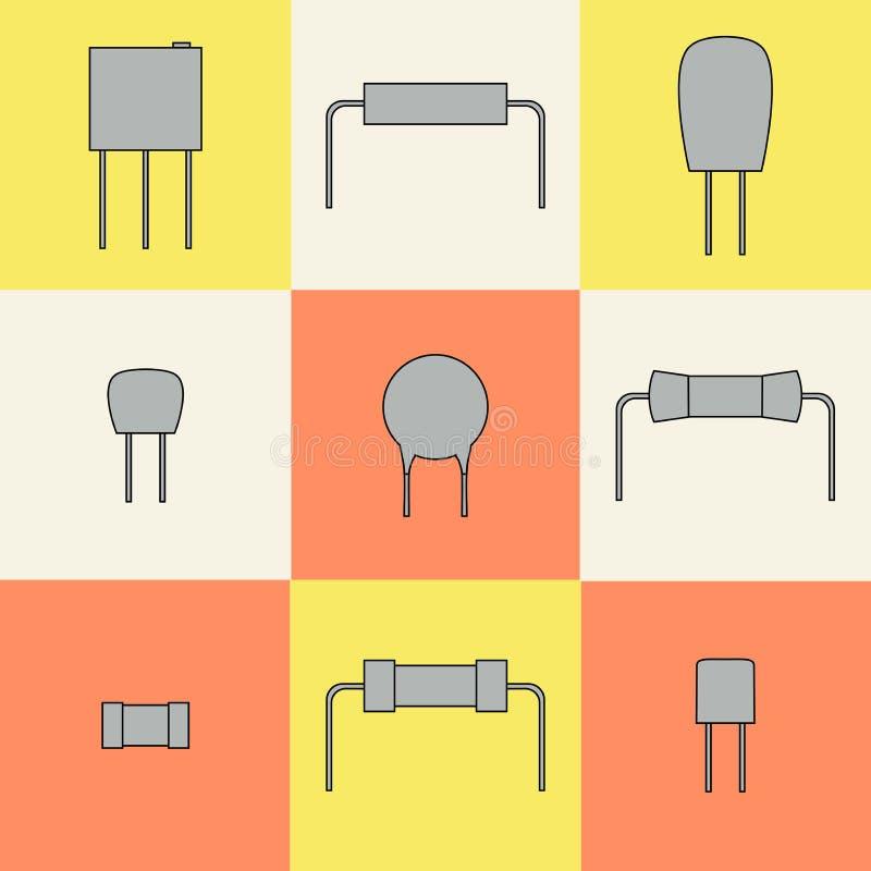 Τα εικονίδια ηλεκτρονικών συστατικών καθορισμένα τους αντιστάτες διάνυσμα διανυσματική απεικόνιση