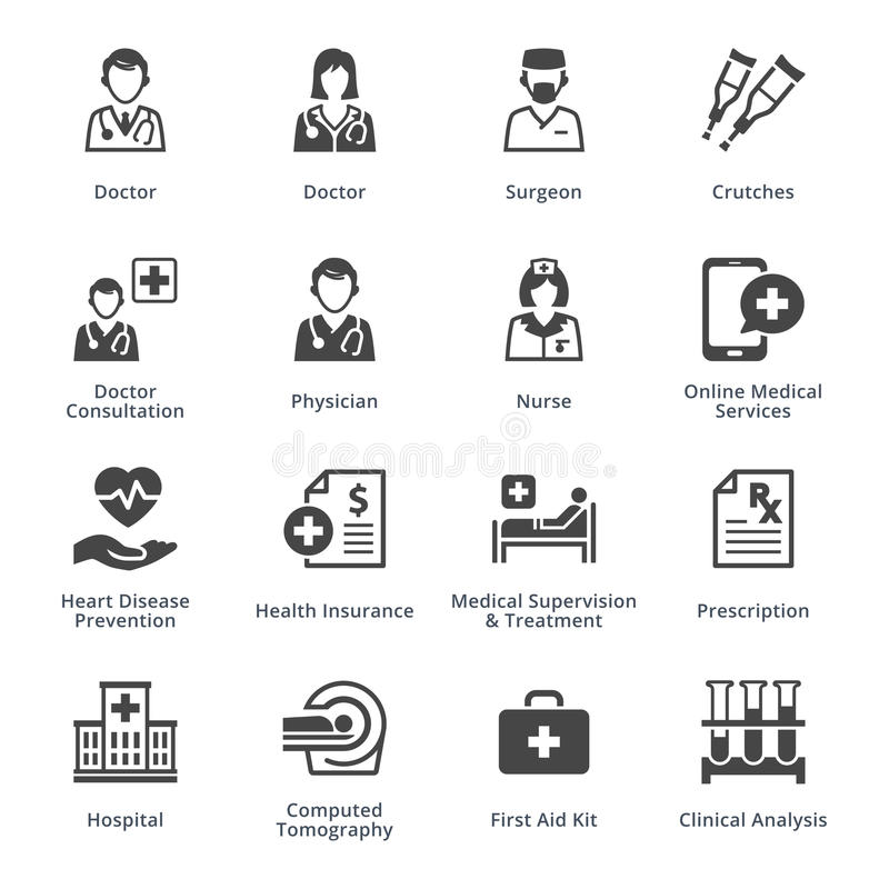 Τα εικονίδια ιατρικών υπηρεσιών θέτουν 4 - μαύρη σειρά ελεύθερη απεικόνιση δικαιώματος