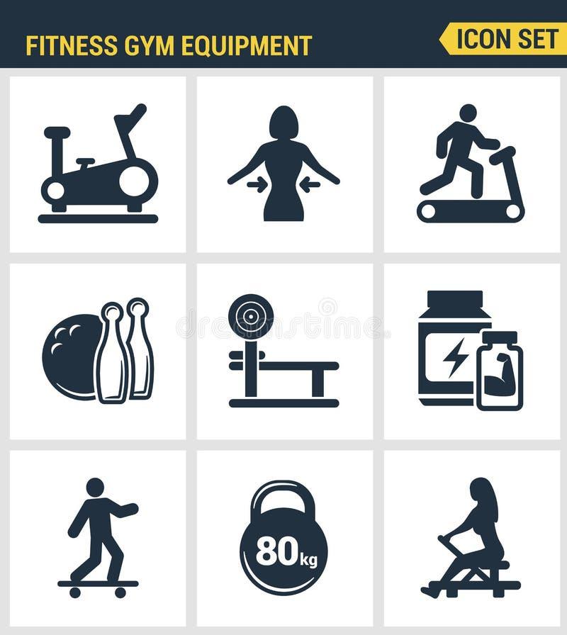 Τα εικονίδια καθορισμένα την εξαιρετική ποιότητα του εξοπλισμού γυμναστικής ικανότητας, δραστηριότητα αθλητικής αναψυχής Σύγχρονο διανυσματική απεικόνιση