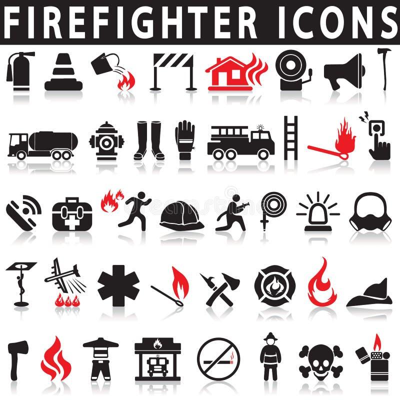 Τα εικονίδια καθορισμένα το πυροσβέστη ελεύθερη απεικόνιση δικαιώματος