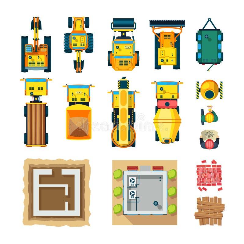 Τα εικονίδια κατασκευής καθορισμένα τη τοπ άποψη απεικόνιση αποθεμάτων