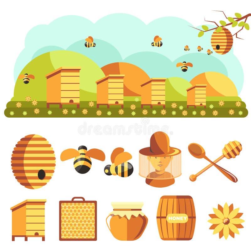 Τα εικονίδια μελισσοκομίας θέτουν: μέλι, μέλισσα απεικόνιση αποθεμάτων