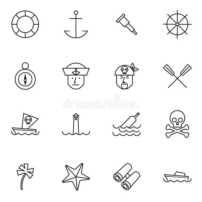 Τα εικονίδια ναυτικών και γραμμών ναυτικών καθορισμένα τη διανυσματική απεικόνιση απεικόνιση αποθεμάτων