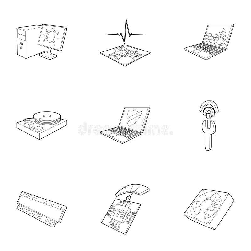 Τα εικονίδια οργάνωσης υπολογιστών καθορισμένα, περιγράφουν το ύφος απεικόνιση αποθεμάτων