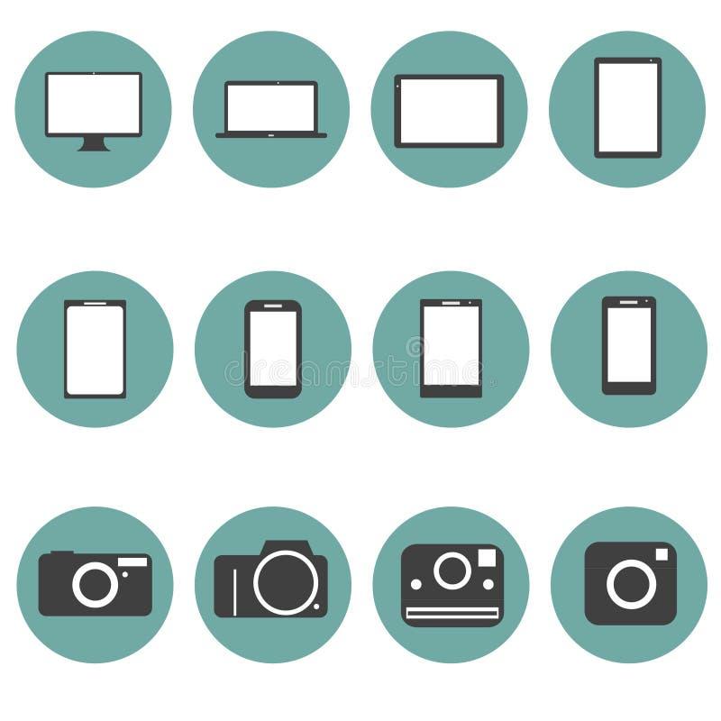 Τα εικονίδια πολυμέσων νέας τεχνολογίας καθορισμένα το καθιερώνον τη μόδα ύφος φ διανυσματική απεικόνιση