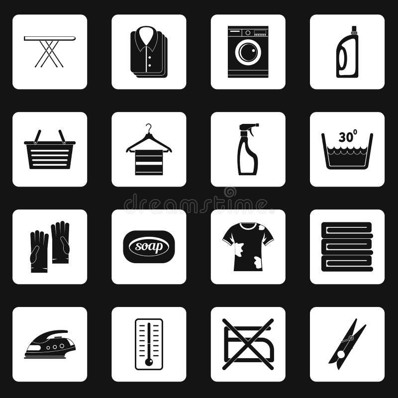 Τα εικονίδια πλυντηρίων καθορισμένα τακτοποιούν το διάνυσμα απεικόνιση αποθεμάτων