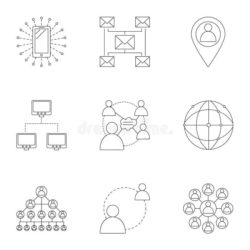 Τα εικονίδια σύνδεσης στο Διαδίκτυο καθορισμένα, περιγράφουν το ύφος διανυσματική απεικόνιση
