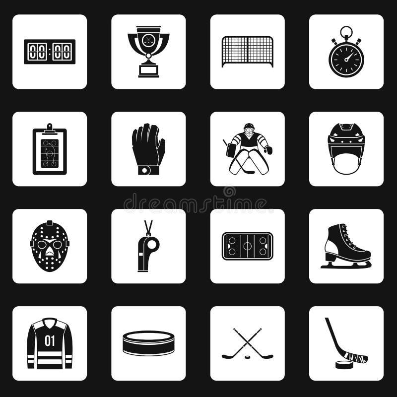 Τα εικονίδια χόκεϋ καθορισμένα τακτοποιούν το διάνυσμα ελεύθερη απεικόνιση δικαιώματος