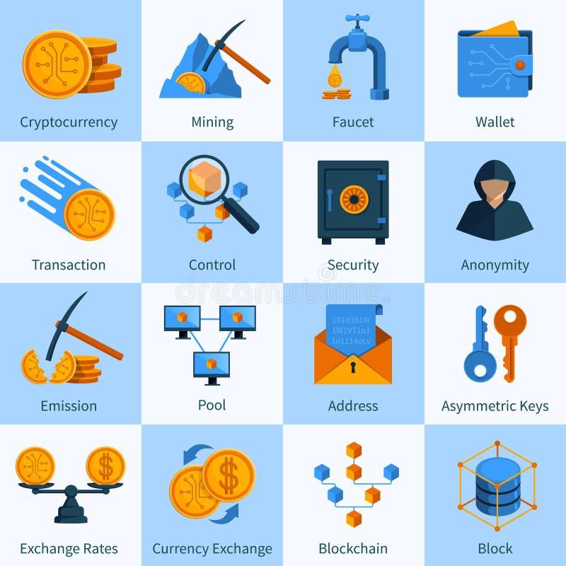Τα εικονικά εικονίδια νομίσματος καθορισμένα το επίπεδο ύφος ελεύθερη απεικόνιση δικαιώματος