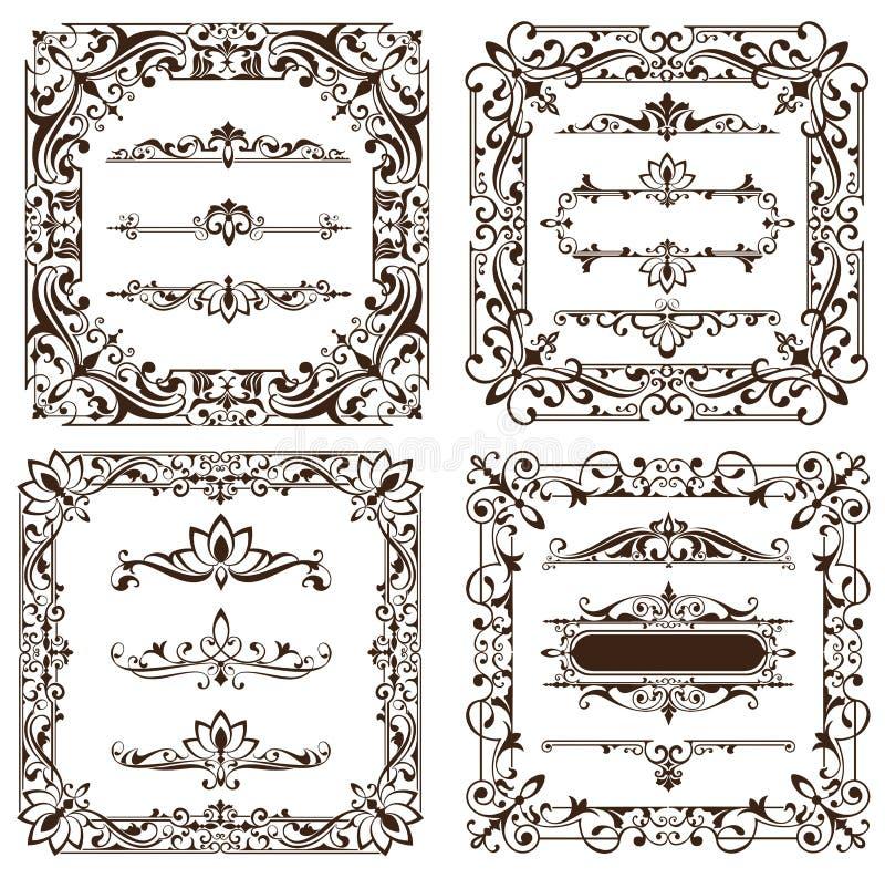 Τα εκλεκτής ποιότητας στοιχεία σχεδίου διακοσμούν τις αναδρομικές αυτοκόλλητες ετικέττες συγκρατήσεων γωνιών πλαισίων και damask  απεικόνιση αποθεμάτων