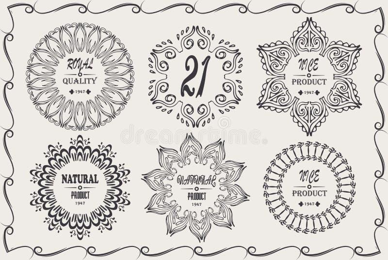 Τα εκλεκτής ποιότητας δροσερά κομψά πλαίσια σχεδιάζουν τα στοιχεία με το φυσικό προϊόν υπογραφών, συμπαθητικό προϊόν ελεύθερη απεικόνιση δικαιώματος