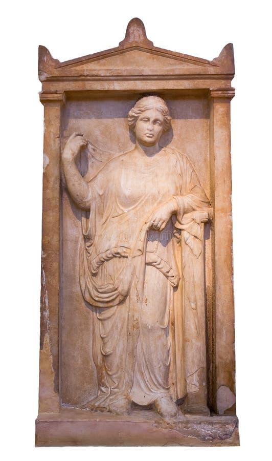 Τα ελληνικά σοβαρά επιτύμβια στήλη από τον Πειραιά εμφανίζουν ώριμη γυναίκα (375-350 Π.Χ.) στοκ εικόνες