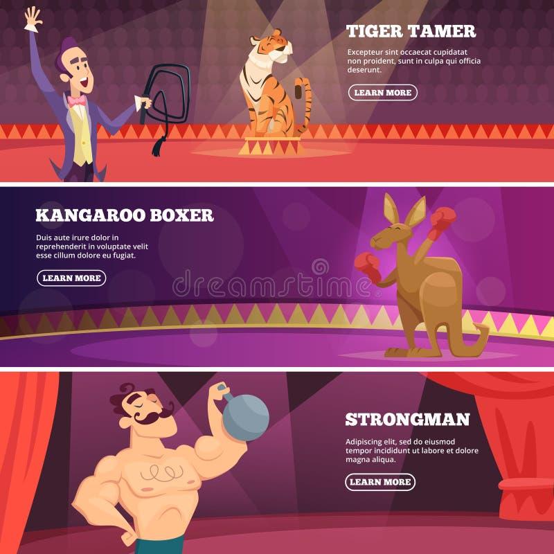 Τα εμβλήματα του τσίρκου παρουσιάζουν Διανυσματικές απεικονίσεις των διάφορων καλλιτεχνών τσίρκων απεικόνιση αποθεμάτων