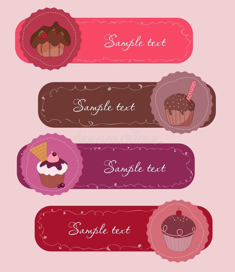 τα εμβλήματα cupcakes θέτουν ελεύθερη απεικόνιση δικαιώματος