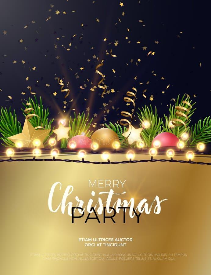 Τα εορταστικά Χριστούγεννα και το νέο σχέδιο πρόσκλησης ιπτάμενων ή γευμάτων κομμάτων έτους διανυσματικό με το δέντρο έλατου διακ απεικόνιση αποθεμάτων