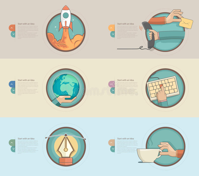 Τα επίπεδα εμβλήματα σχεδίου με το σύνολο επίπεδων εικονιδίων έννοιας για τον Ιστό σχεδιάζουν και τα επιχειρησιακά πρότυπα απεικόνιση αποθεμάτων