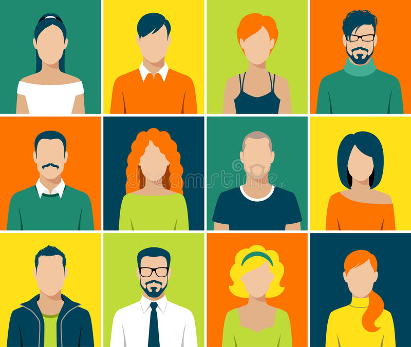 Τα επίπεδα app ειδώλων εικονίδια καθορισμένα το διάνυσμα ανθρώπων προσώπου χρηστών απεικόνιση αποθεμάτων
