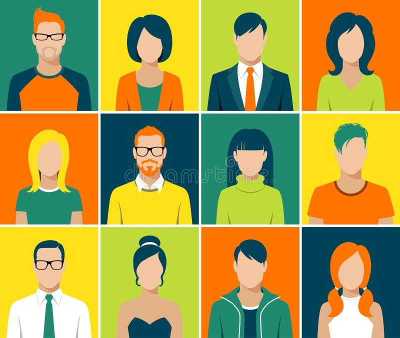 Τα επίπεδα app ειδώλων εικονίδια καθορισμένα το διάνυσμα ανθρώπων προσώπου χρηστών ελεύθερη απεικόνιση δικαιώματος