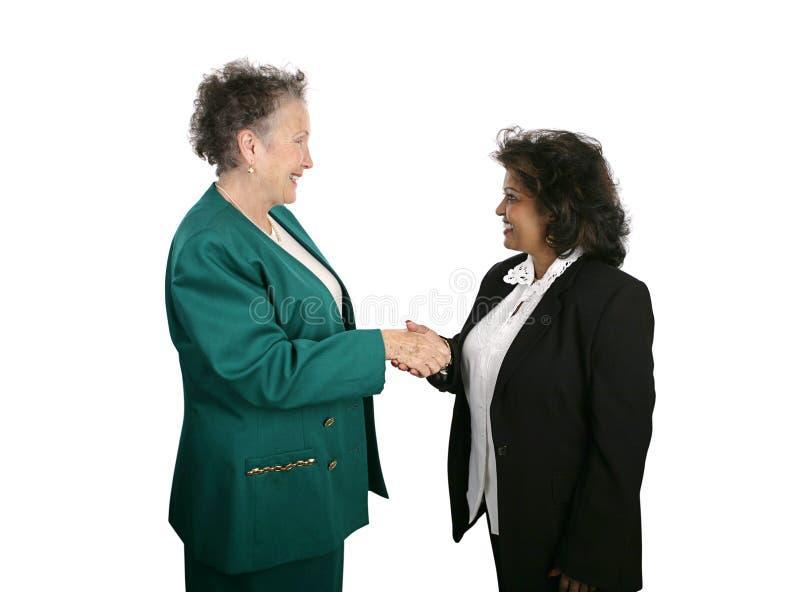 τα επιχειρησιακά θηλυκά χέρια τινάζουν την ομάδα στοκ εικόνα με δικαίωμα ελεύθερης χρήσης