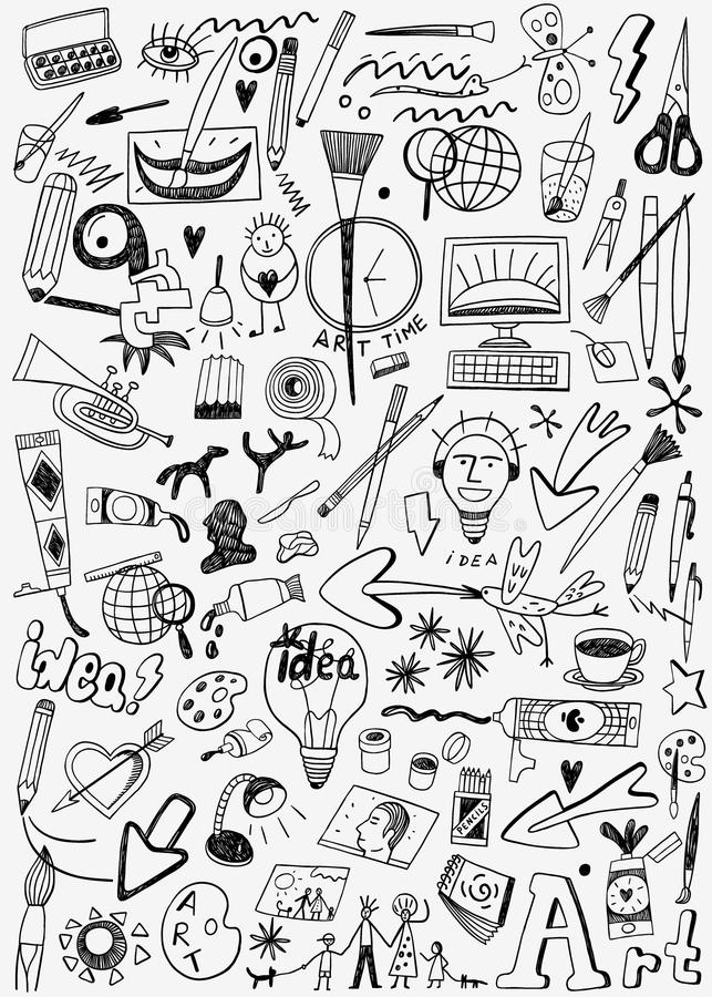 Τα εργαλεία τέχνης doodles θέτουν απεικόνιση αποθεμάτων