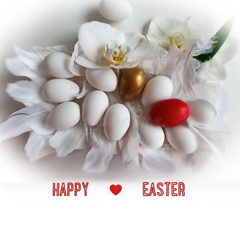 Τα ευτυχή αυγά Πάσχας και το δέντρο ιτιών στις μπλε διακοπές θέματος Πάσχας ανοίξεων υποβάθρου κόκκινες κίτρινες σχεδιάζουν την α ελεύθερη απεικόνιση δικαιώματος