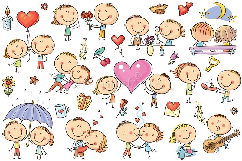 Τα ευτυχή κινούμενα σχέδια συνδέουν το σύνολο ερωτευμένης, ημέρας βαλεντίνων ` s απεικόνιση αποθεμάτων