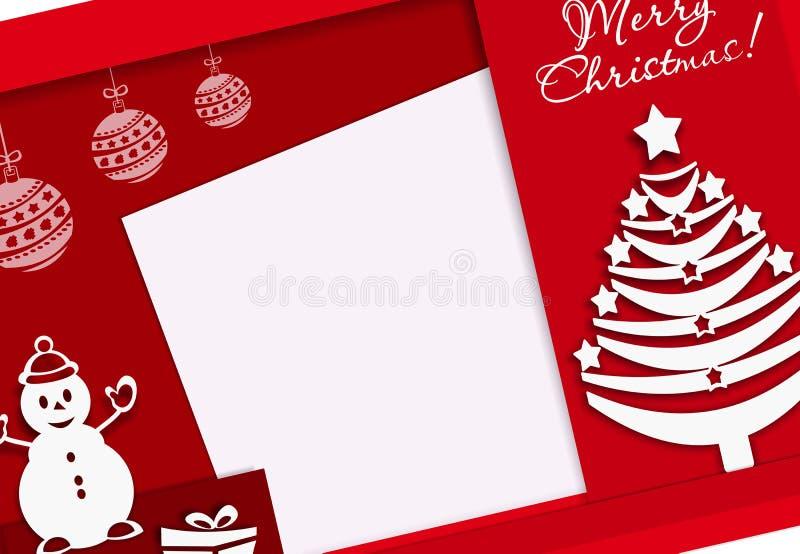 Τα εύθυμα Χριστούγεννα εμβλημάτων με το χιονάνθρωπο και το νέο δέντρο έτους, έγγραφο έκοψαν το ύφος, κόκκινο, έμβλημα, κόκκινος,  διανυσματική απεικόνιση