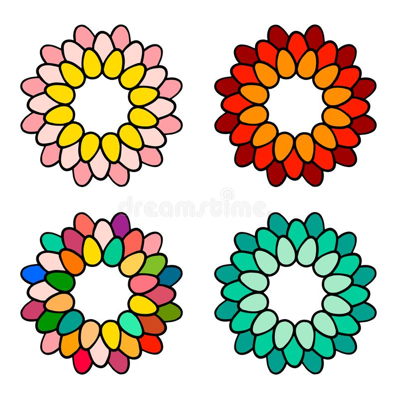 Τα ζωηρόχρωμα αυγά σε ένα mandala στεφανιών δίνουν τη συρμένη απεικόνιση σε τέσσερις μορφές ελεύθερη απεικόνιση δικαιώματος