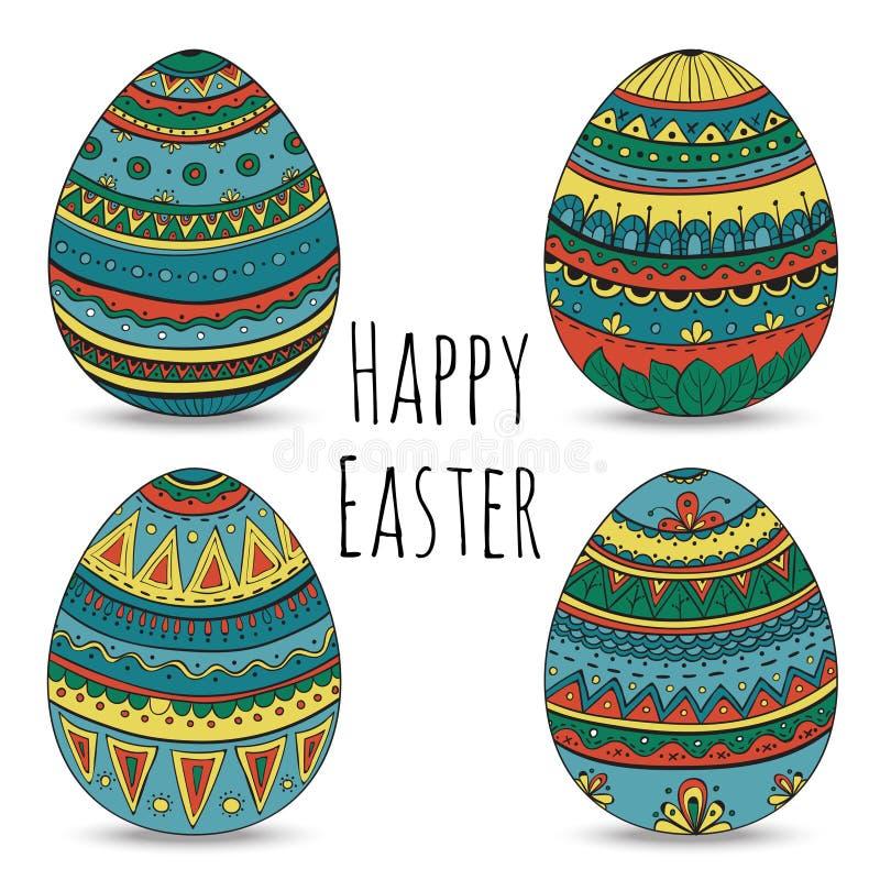 Τα ζωηρόχρωμα ευτυχή αυγά Πάσχας καθορισμένα τη συλλογή, διανυσματική απεικόνιση διανυσματική απεικόνιση