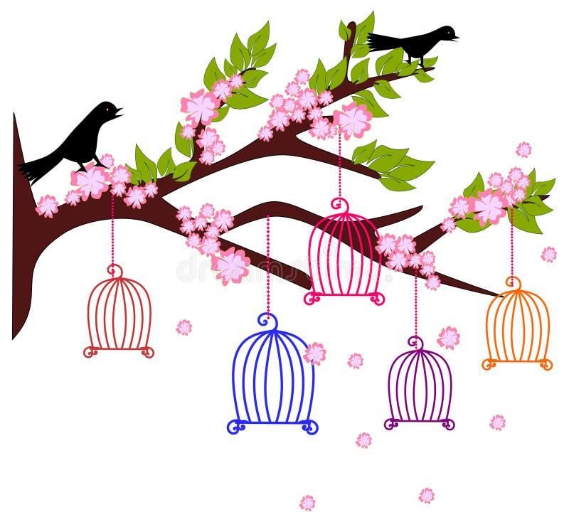 Τα ζωηρόχρωμα κλουβιά πουλιών διανυσματική απεικόνιση