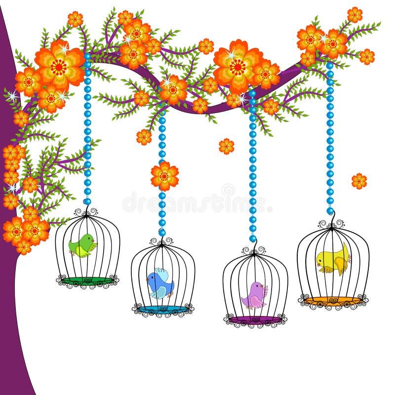 Τα ζωηρόχρωμα κλουβιά πουλιών ελεύθερη απεικόνιση δικαιώματος