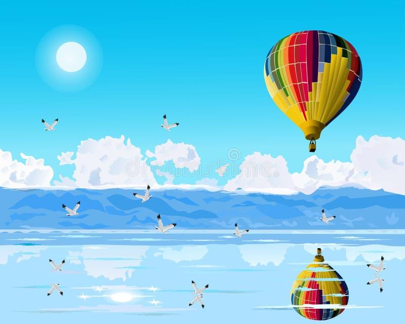 Τα ζωηρόχρωμα μπαλόνια επιπλέουν πέρα από την μπλε θάλασσα Seagulls πετούν με το υπόβαθρο βουνών και μπλε ουρανού απεικόνιση αποθεμάτων