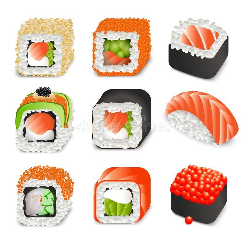 Τα ζωηρόχρωμα ρεαλιστικά ιαπωνικά εικονίδια τροφίμων που τέθηκαν με τα διαφορετικούς σούσια και τους ρόλους στο άσπρο υπόβαθρο απ ελεύθερη απεικόνιση δικαιώματος