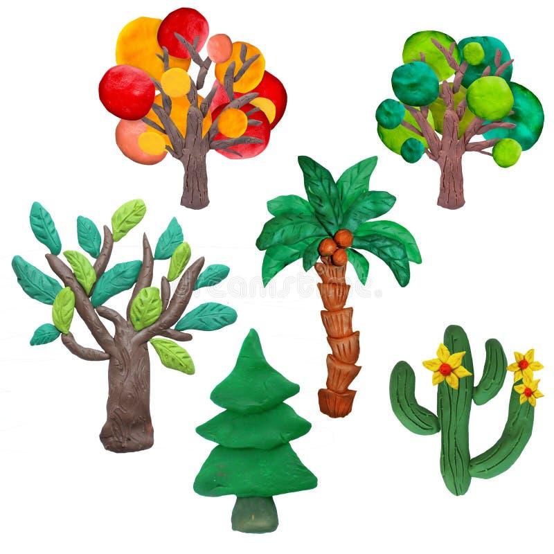 Τα ζωηρόχρωμα τρισδιάστατα δέντρα plasticine, εικονίδια θέτουν απομονωμένος στο άσπρο υπόβαθρο απεικόνιση αποθεμάτων