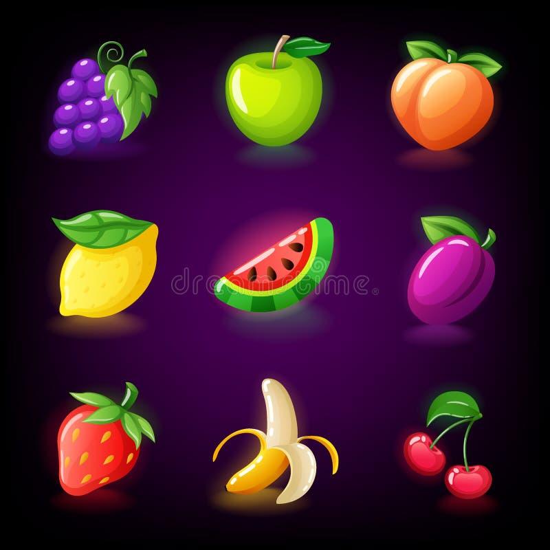Τα ζωηρόχρωμα φρούτα αυλακώνουν το εικονίδιο που τίθεται για το μηχάνημα τυχερών παιχνιδιών με κέρματα χαρτοπαικτικών λεσχών, παι απεικόνιση αποθεμάτων