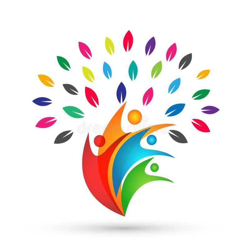 Τα ζωηρόχρωμα φύλλα λογότυπων οικογενειακών δέντρων αγαπούν οικογενειακών γονέων παιδιών το πράσινο διάνυσμα σχεδίου εικονιδίων σ ελεύθερη απεικόνιση δικαιώματος