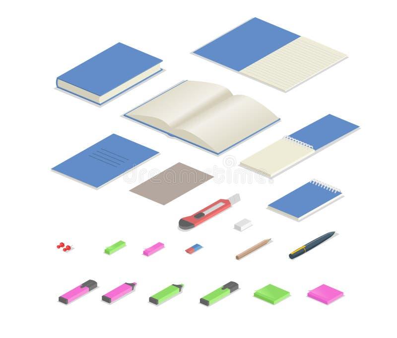 Τα ζωηρόχρωμα χαρτικά παρέχουν το isometric σύνολο Isometric σύνολο εξοπλισμού γραφείων Επίπεδη διανυσματική απεικόνιση Απομονωμέ διανυσματική απεικόνιση