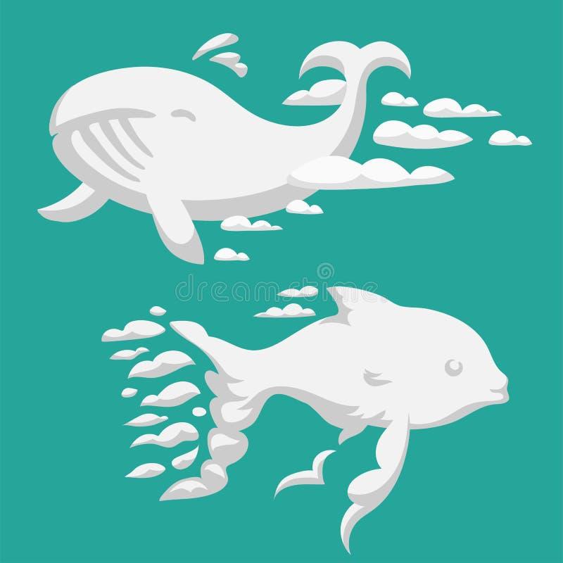 Τα ζωικά σύννεφα σκιαγραφούν φαλαινών σχεδίων το διανυσματικό ωκεανό κινούμενων σχεδίων ουρανού απεικόνισης αφηρημένο humpback φυ ελεύθερη απεικόνιση δικαιώματος